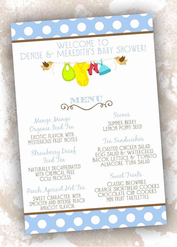 Baby Shower Menu Cards • Birthday Menu Card • Menu