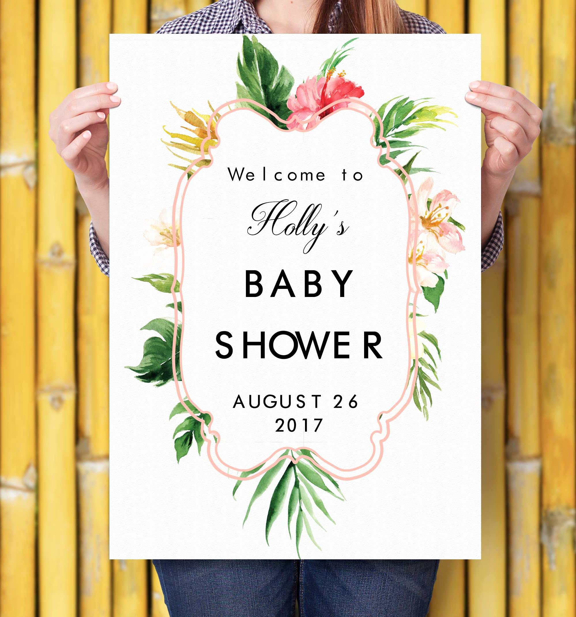 Baby Shower Wel E Sign Printable Personalized Botanical