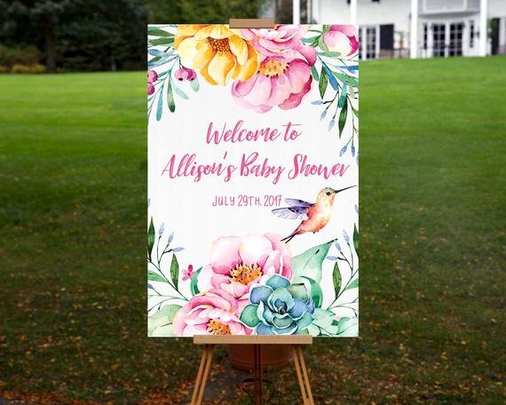 Baby Shower Wel E Sign Printable Personalized Floral