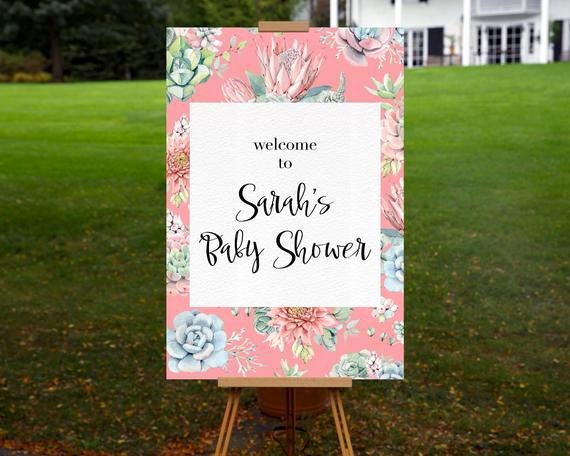 Baby Shower Wel E Sign Printable Personalized Succulent