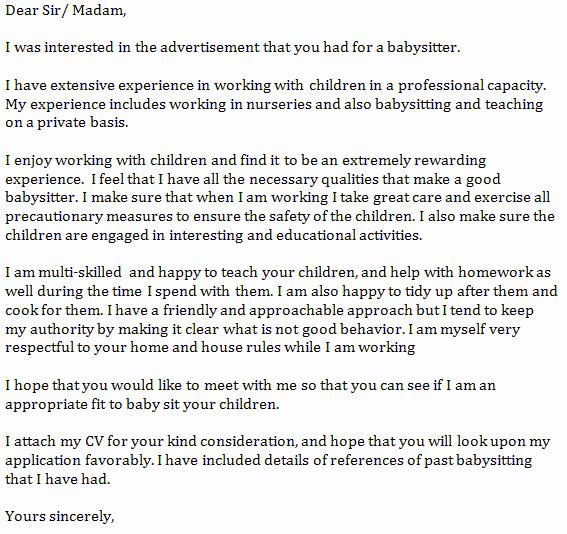 Babysitter Cover Letter Example Learnist