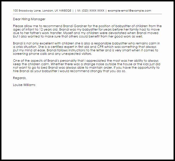 Babysitter Re Mendation Letter Example