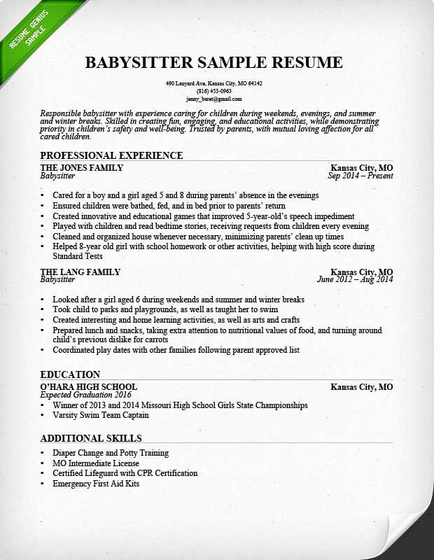 Babysitter Resume Example & Writing Guide