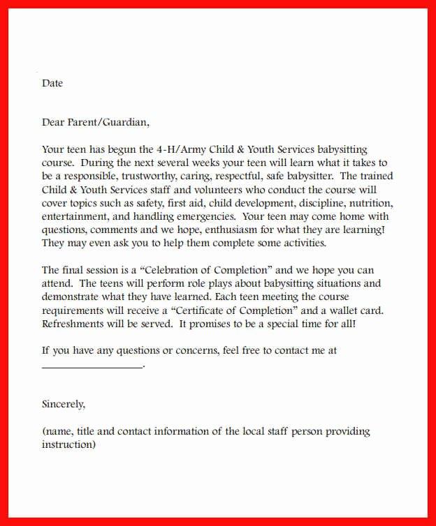 Babysitting Letter Sample