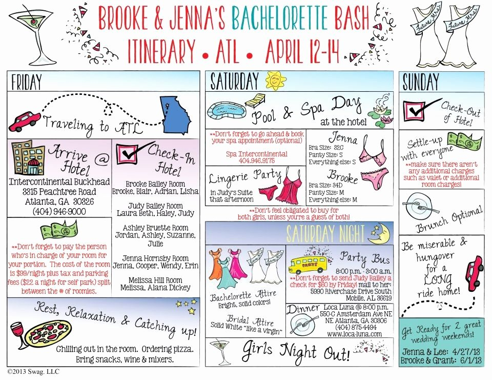 Bachelorette Itinerary so Cute