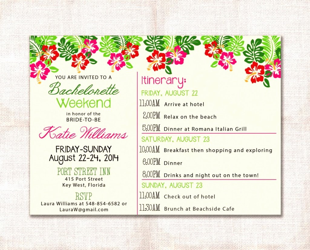 Bachelorette Itinerary Template Etsy Party Weekend