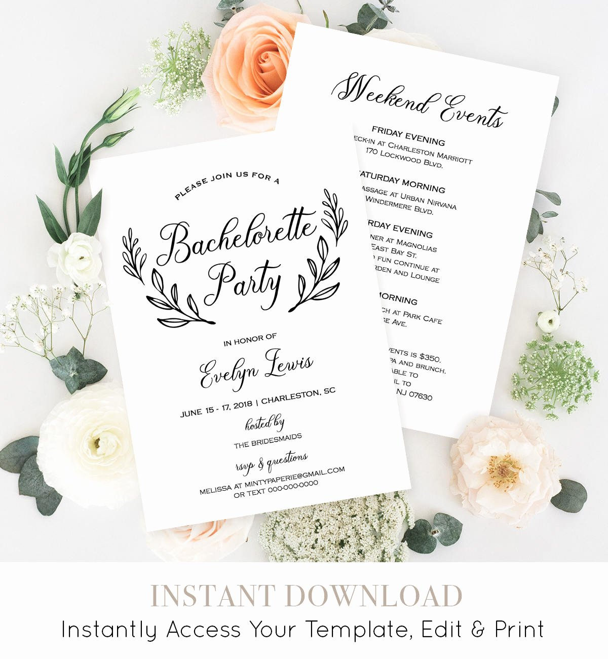 Bachelorette Party Invitation Template Printable