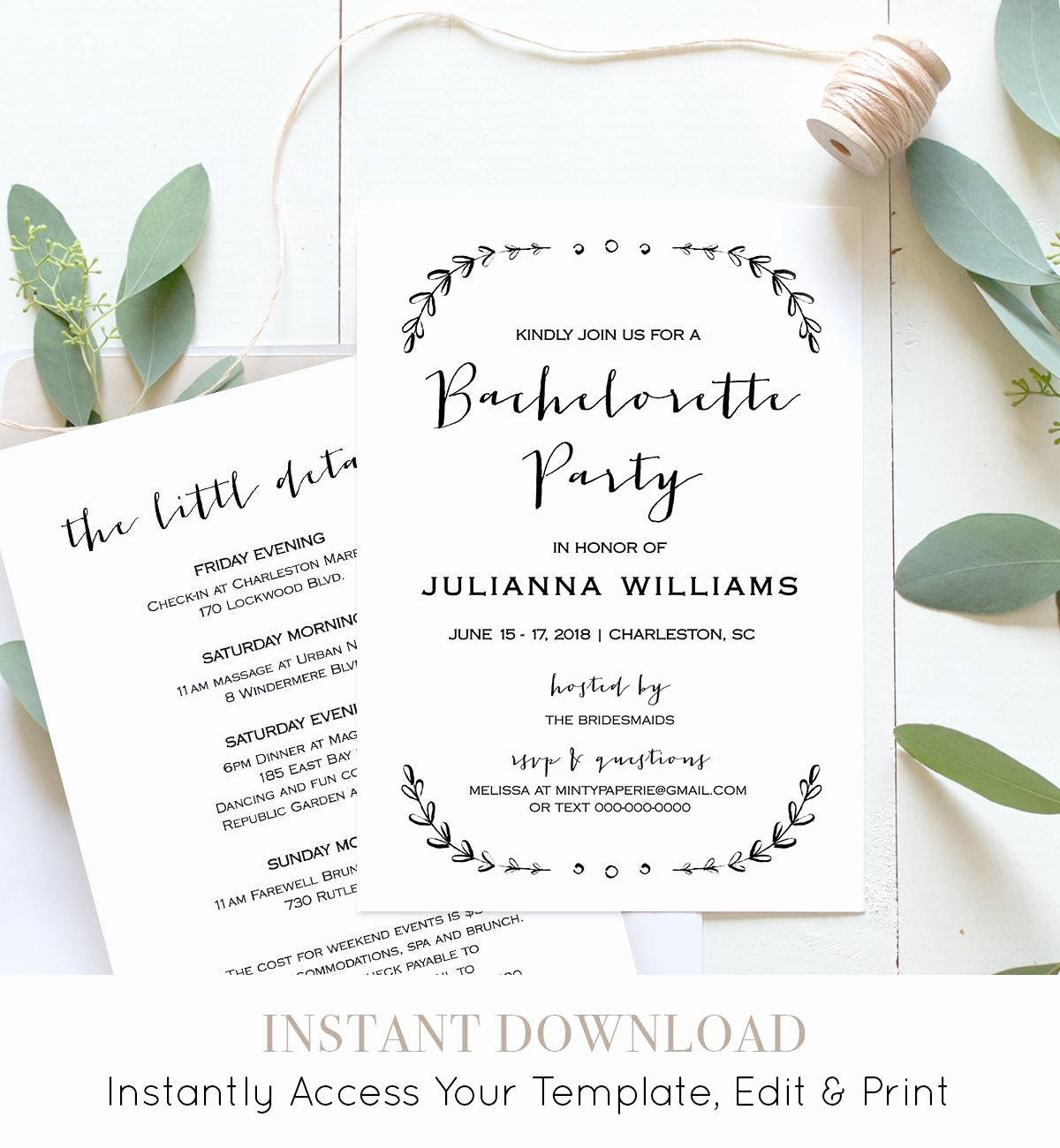 Bachelorette Party Invitation Template Printable Rustic