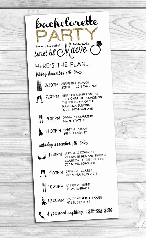 Bachelorette Party Itinerary Template Templates Station