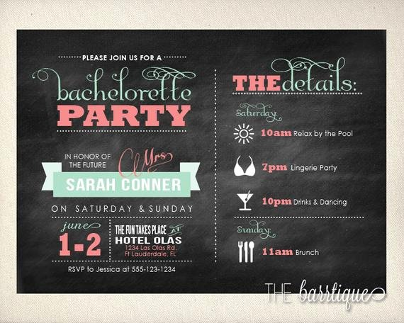 Bachelorette Party Night Weekend Itinerary Modern Invitations