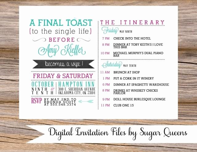 Bachelorette Party Weekend Wedding Invitation Diy