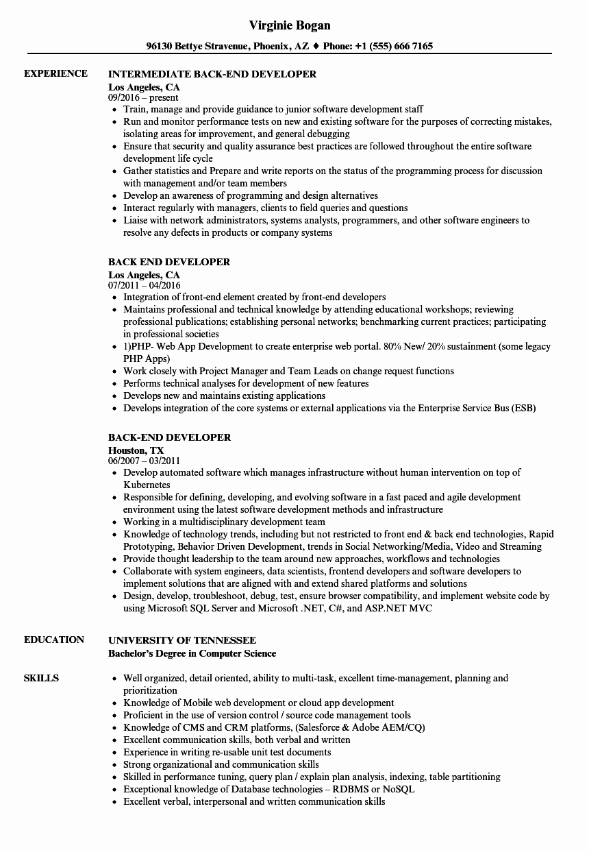 Back End Developer Resume Samples