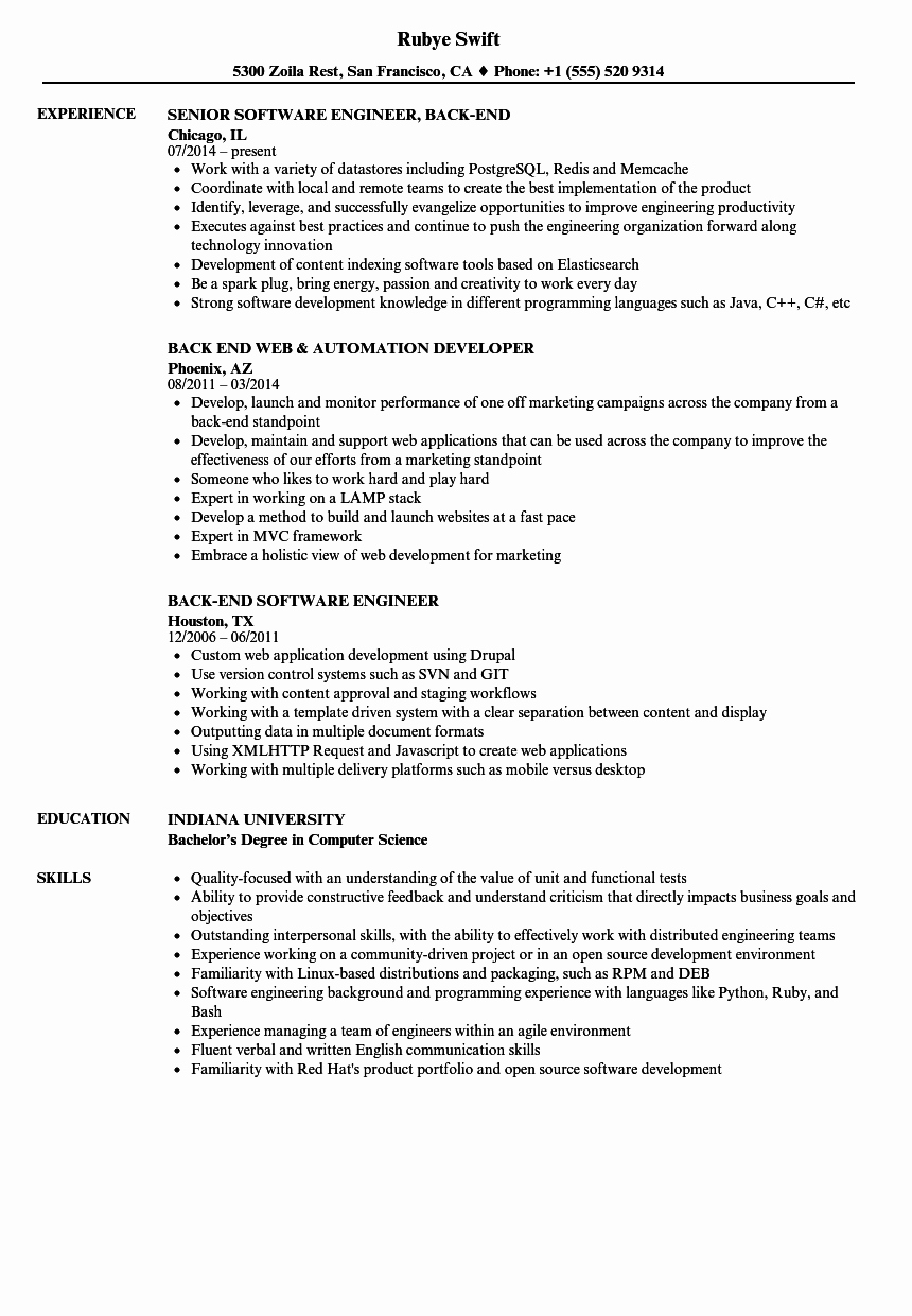Back End Resume Samples