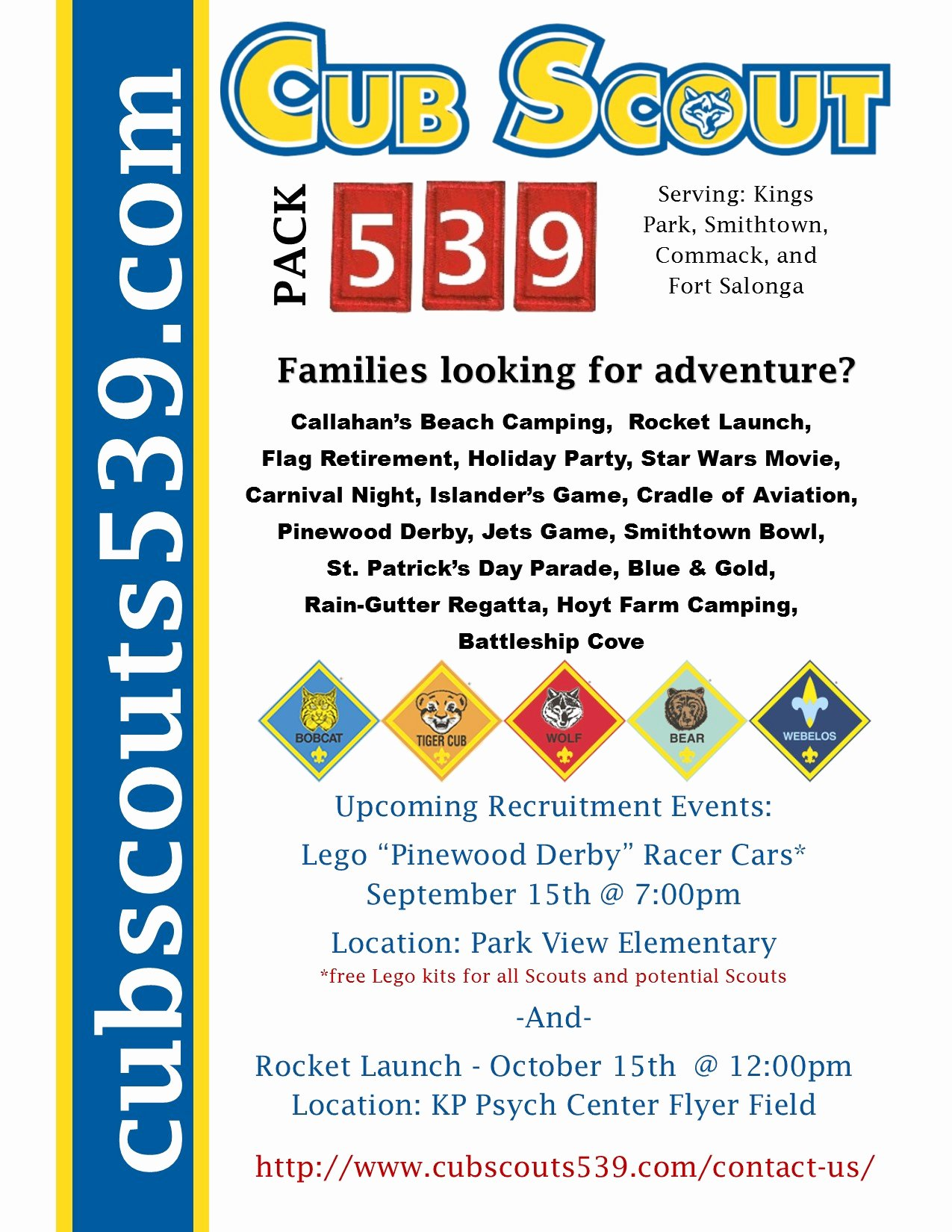 Back to School Night Pack 539 Recruitment September 14th