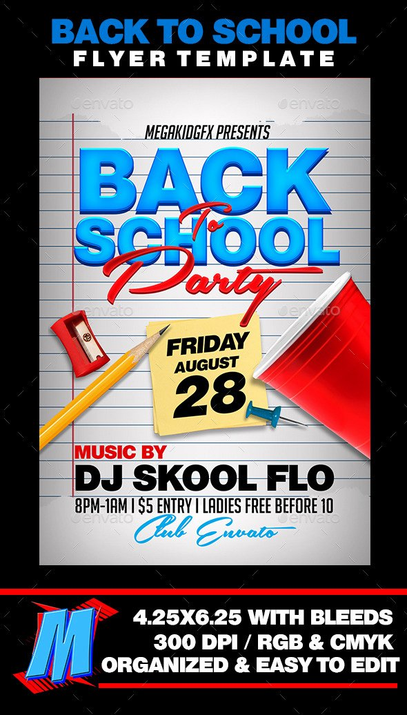 Back to School Party Flyer Template by Megakidgfx with