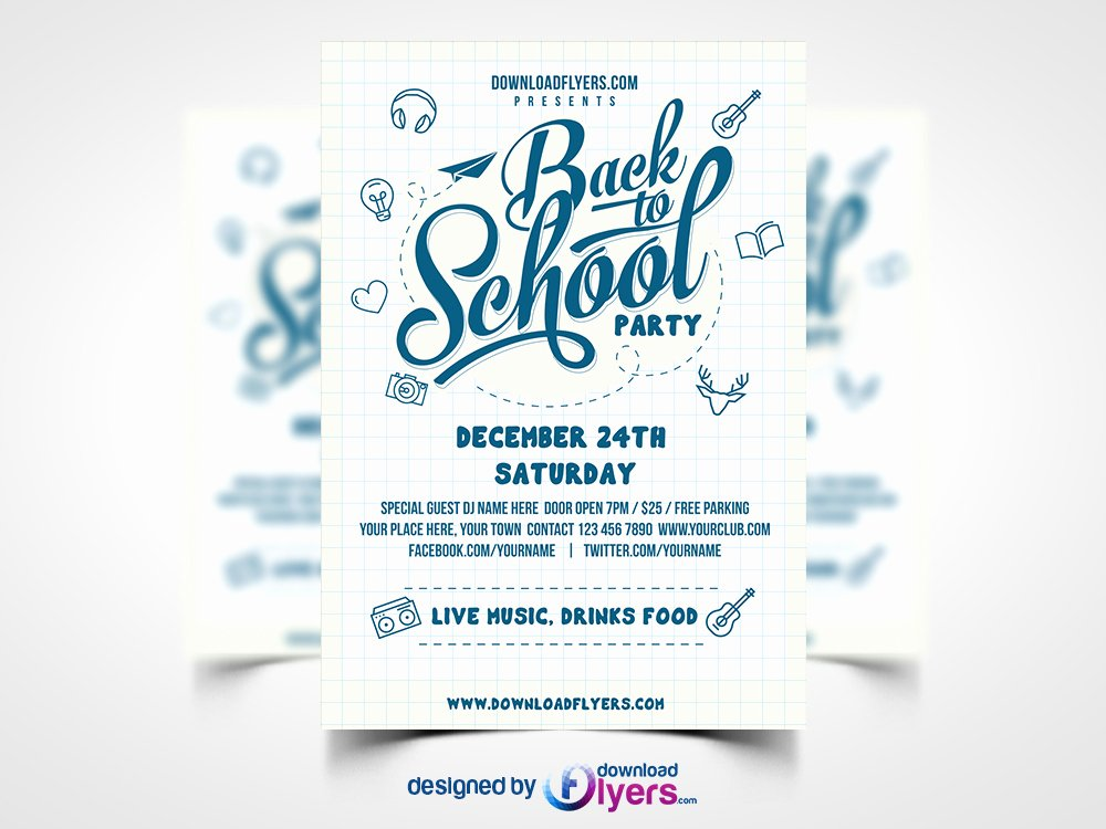 Back to School Party Flyer Template Free Psd Download Psd