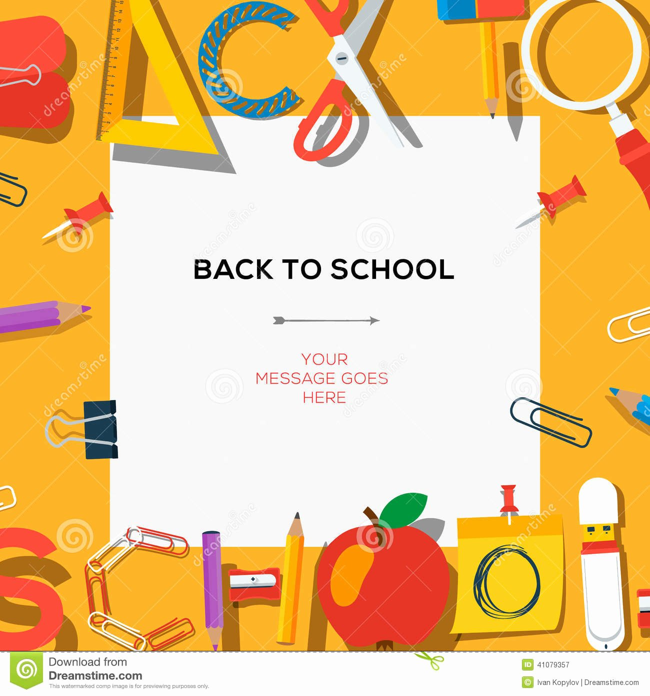 Back to School Template with Supplies Stock Vector