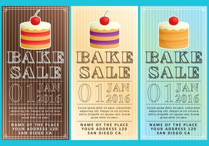 Bake Sale Flyers Free Vectors