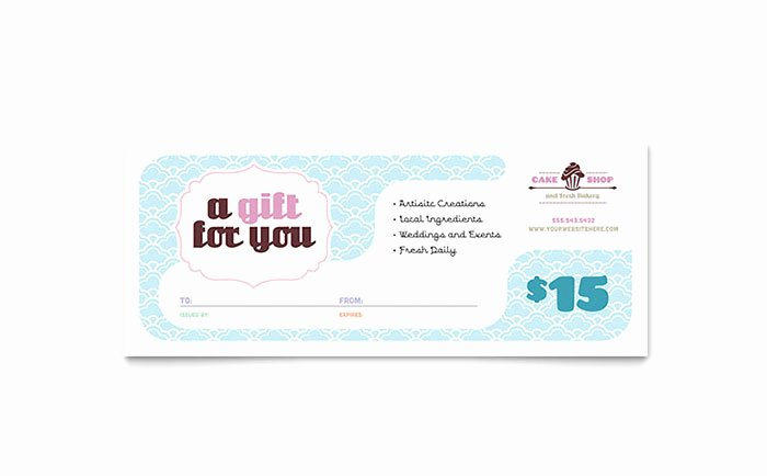 Bakery & Cupcake Shop Gift Certificate Template Word