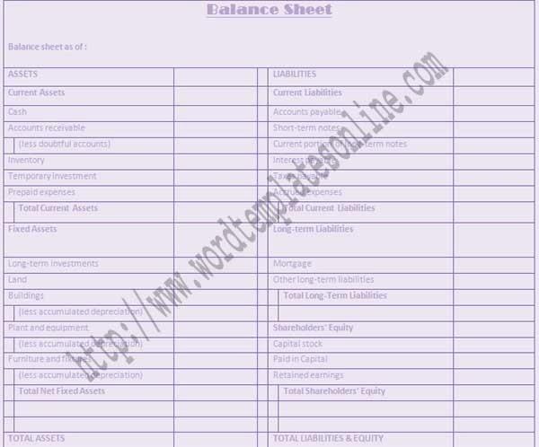 Balance Sheet Template Microsoft Word Templates