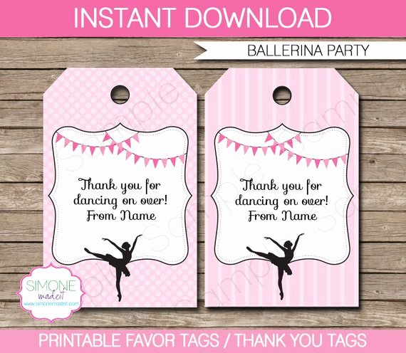 Ballerina Favor Tags Thank You Tags Birthday Party