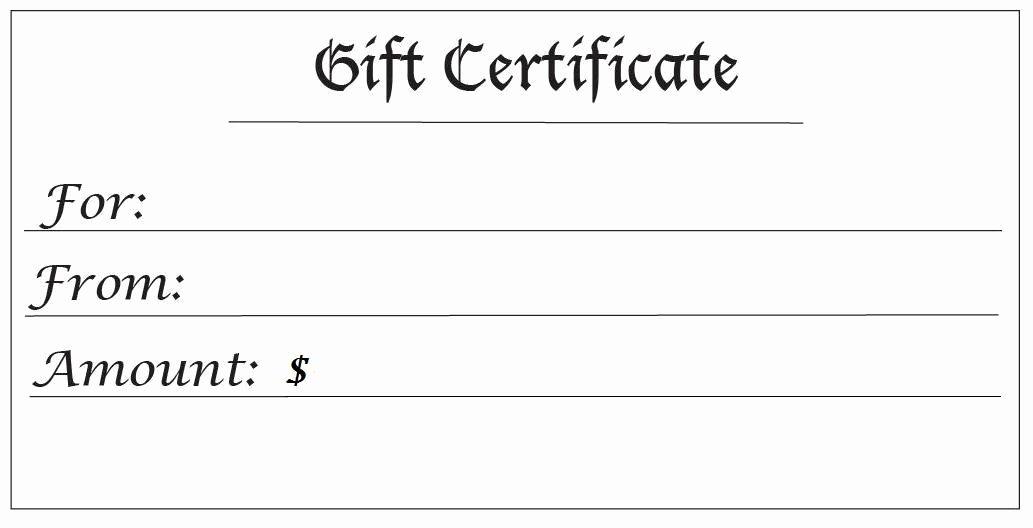 Balnk Gift Certificates