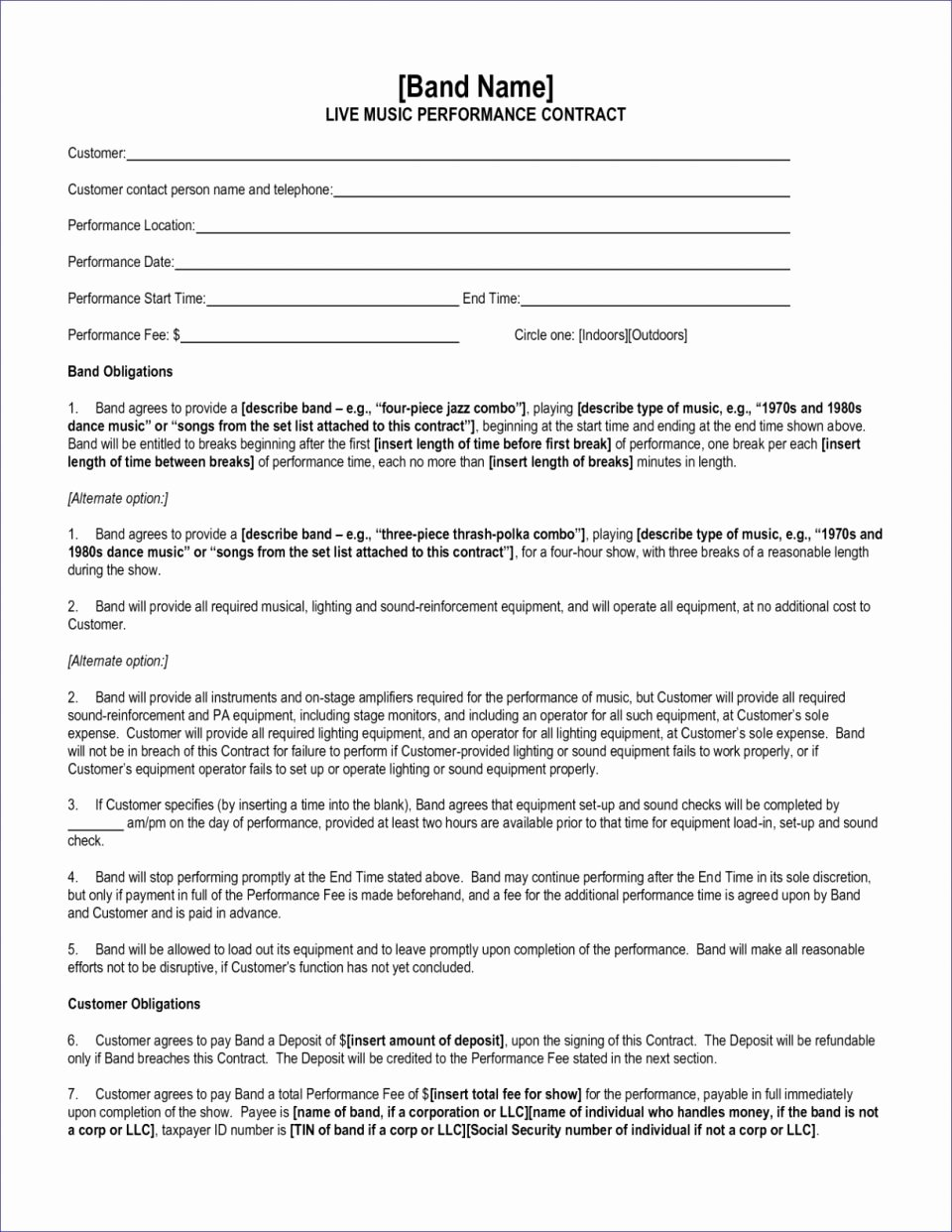 Band Booking form Template Awesome Artist Contract New