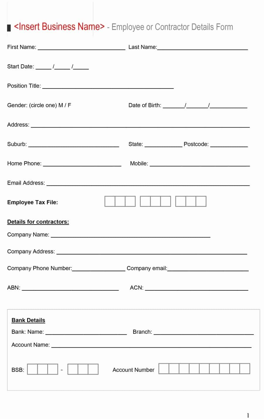 Bank Bank Details form