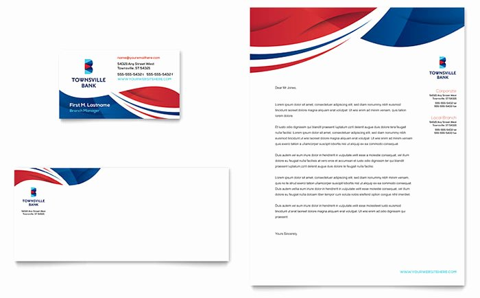 Bank Business Card & Letterhead Template Word & Publisher