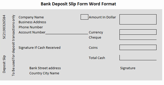 Bank Deposit Slip form Word format