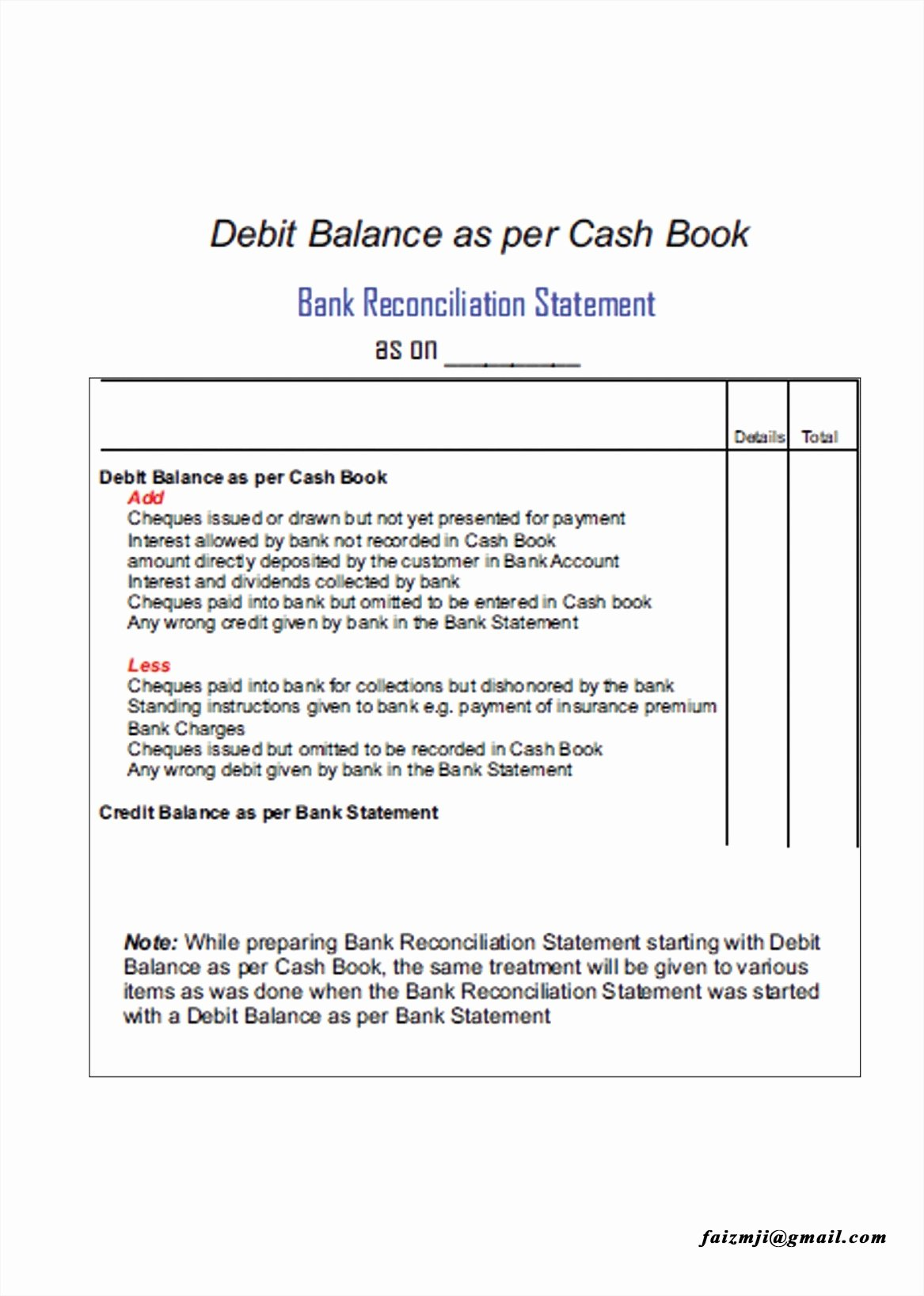 Bank Reconciliation Template Example Mughals