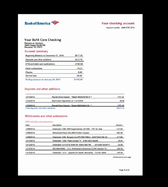 Bank Statement Bank America Template In E Earnings
