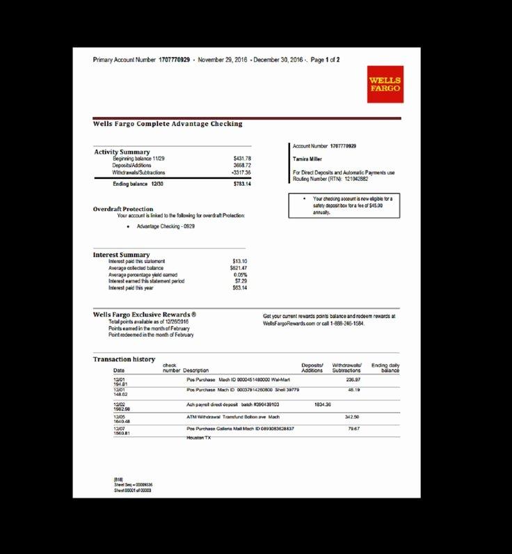 Bank Statement Wells Fargo Fake Documents