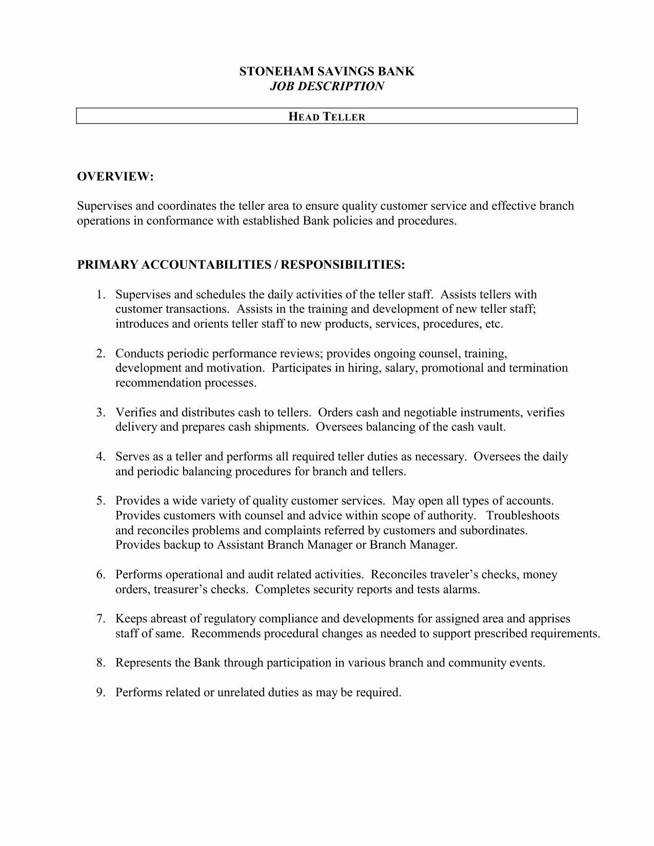 Bank Teller Job Description Resume Sample