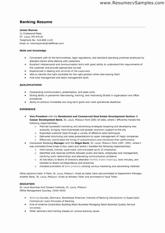 Bank Teller Job Resume