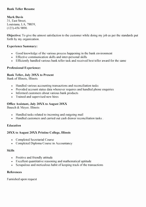 Bank Teller Resume Objective F Resume