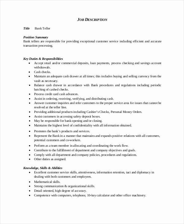 Bank Teller Resume Template 5 Free Word Excel Pdf