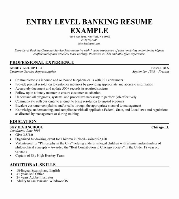 Banking Resume Objective Entry Level