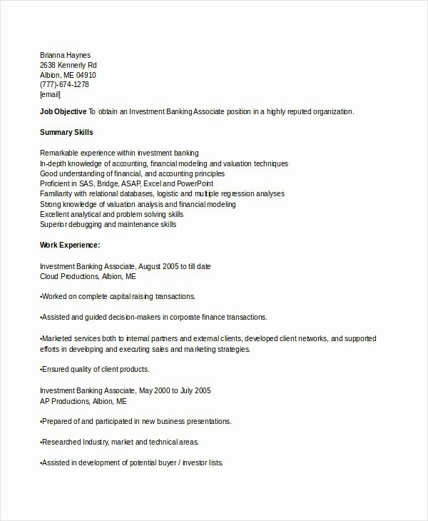 banking resume sample