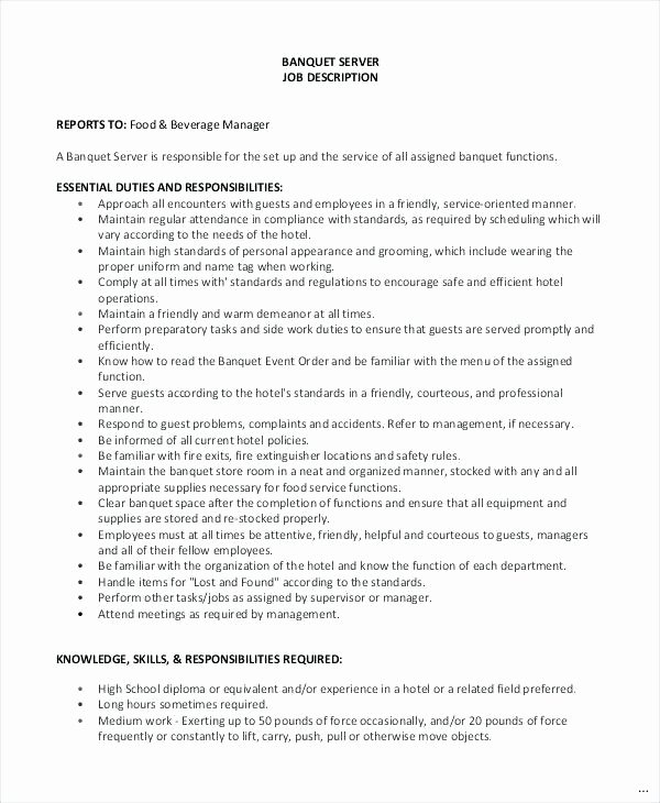 Banquet Server Job Description Duties for Resume Expert