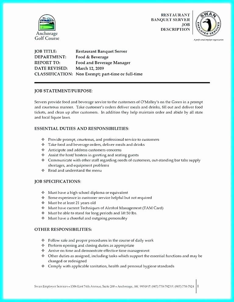 Banquet Server Job Description Duties for Resume Expert