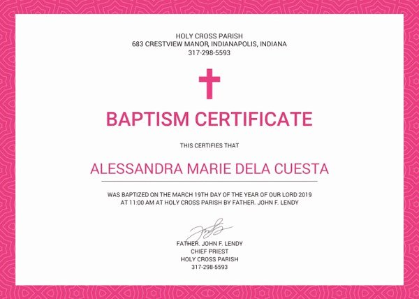 Baptism Certificate 12 Free Word Pdf Documents