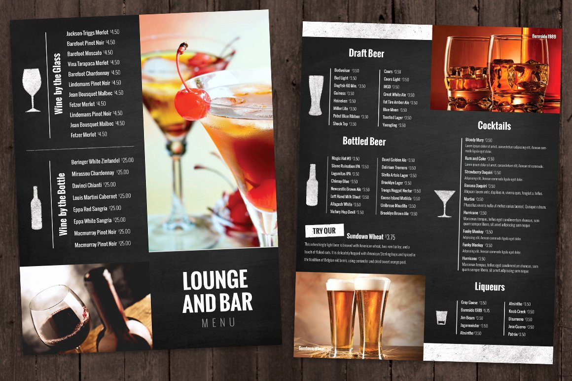 Bar and Lounge Drink Menu Brochure Templates On Creative