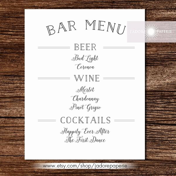 Bar Menu Liquor Menu Cocktail Menu Wedding Bar Menu