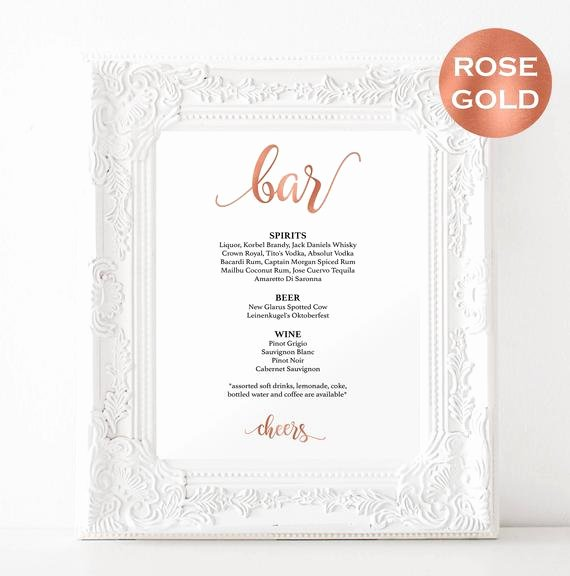 Bar Menu Sign Template Diy Wedding Bar Menu Printable