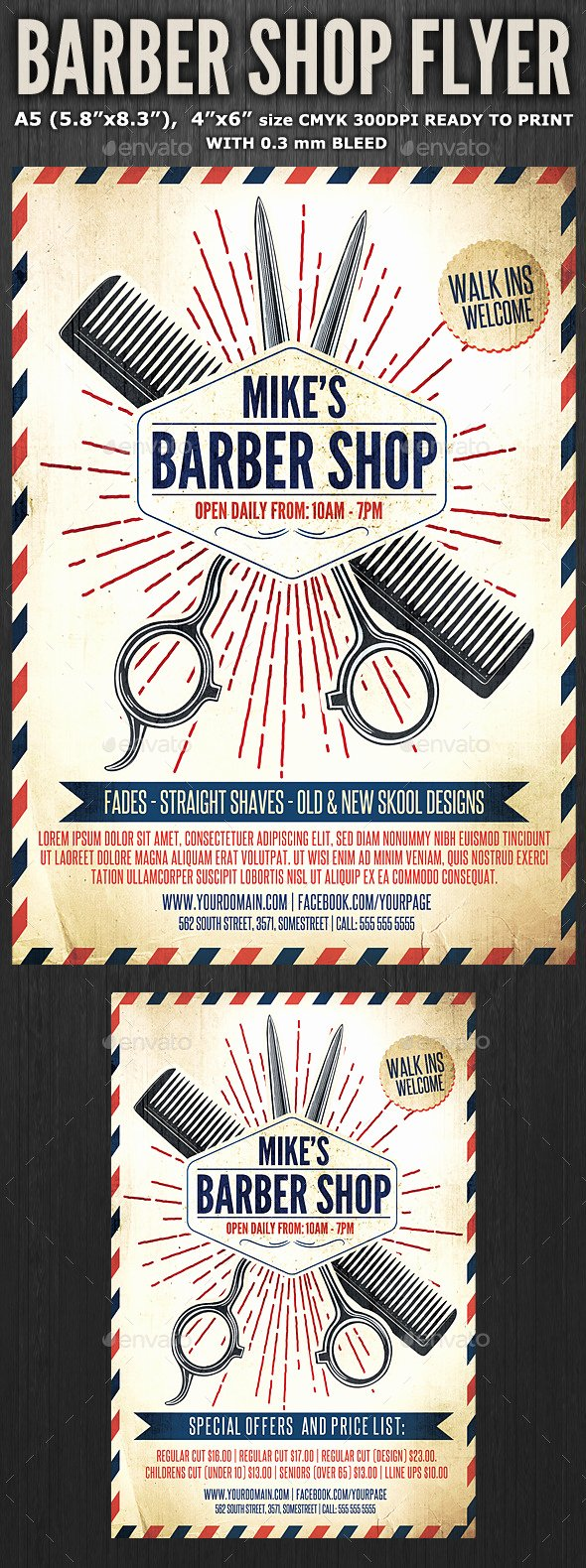 Barber Shop Flyer Template 3 by Hotpin