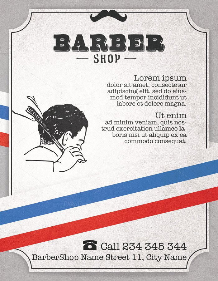 Barber Shop Vintage Flyer Flyer Templates On Creative Market