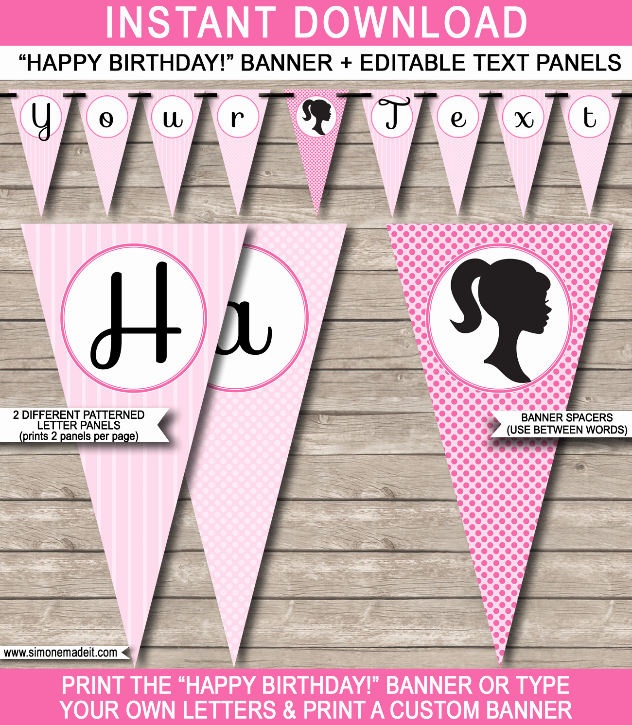 Barbie Party Banner Template Birthday Banner
