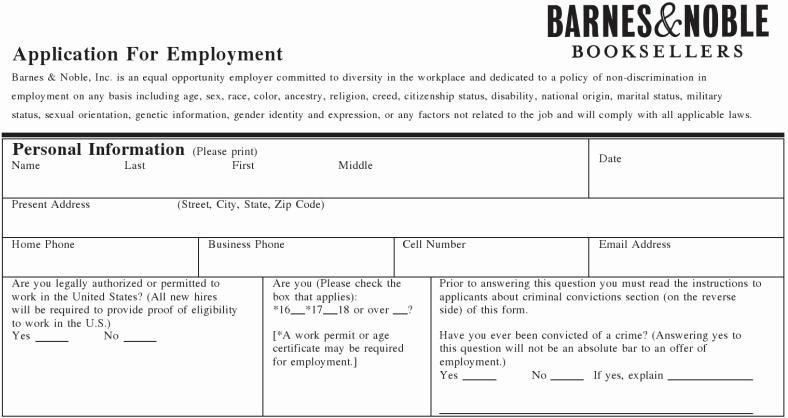Barnes & Noble Inc Job Application Printable Employment