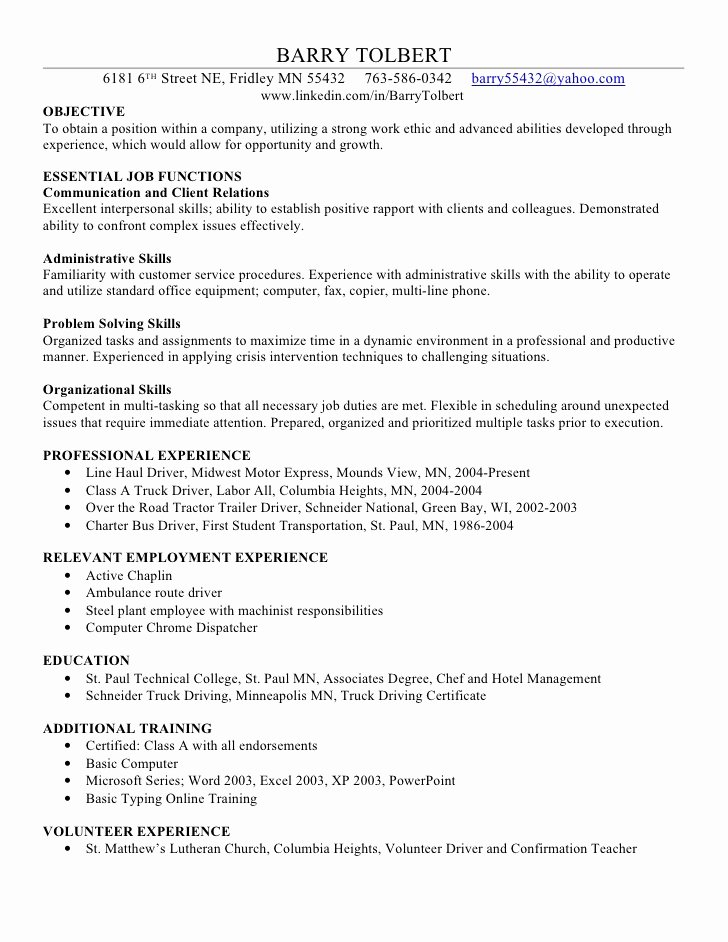 Barry T Skills Resume